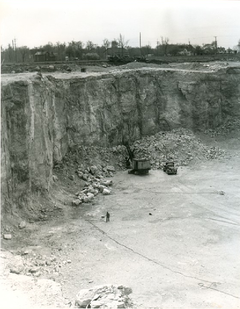 Luckey Quarry May 4, 1951, Looking SW towards Lime and Locust St Fred Chambers