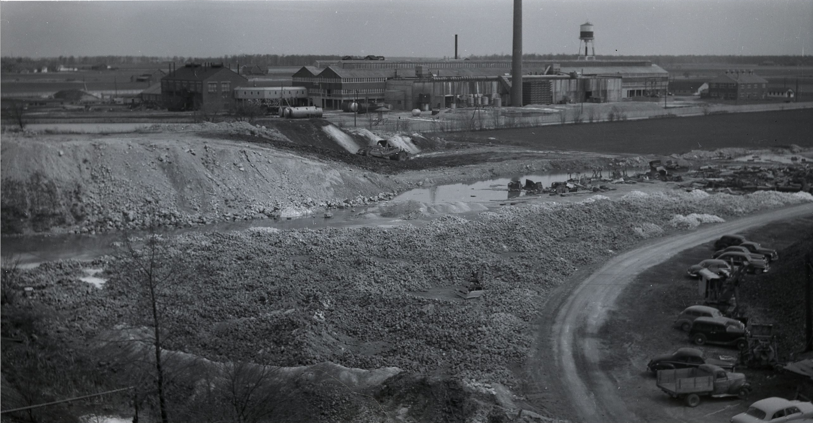 Quarry looking north toward factory on Gilbert Rd.