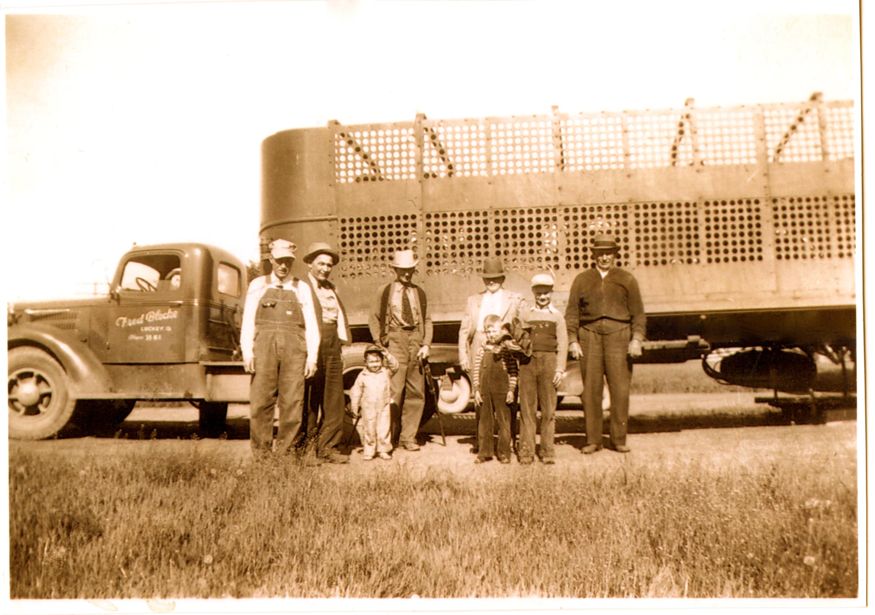 L to R: Earnest Fahle, Fred Blecke (truck owner), Charlotte Fahle, Elmer Shute, Harm H. Fahle, Dale Fahle, Lloyd Fahle, Henry H. Fahle